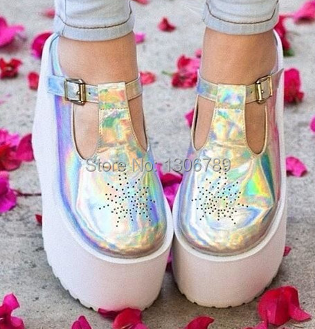 02d3128d6b41 Free shipping Harajuku fashion Unif same style laser silver PU cutout round  toe doll platform shoes