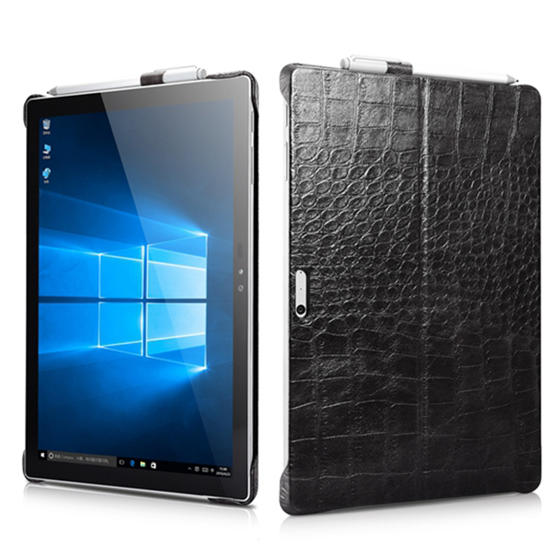 Business Case for Surface Pro 5 Pencil Holder Cover for Microsoft Surface Pro 4 Embossed Crocodile Genuine Leather Back Case