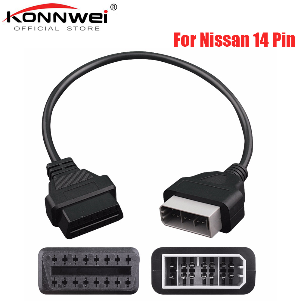 OBD2 Cable Adapter For Nissan 14 Pin To OBD OBDII 16 Pin Female Diagnostic Cable Connector For Nissan 14 Pin Adapter ODB 2 Cable 565854 1 8m cable with heavy duty alligator clips wired to female sae 2 pin connector for leica 5 pin