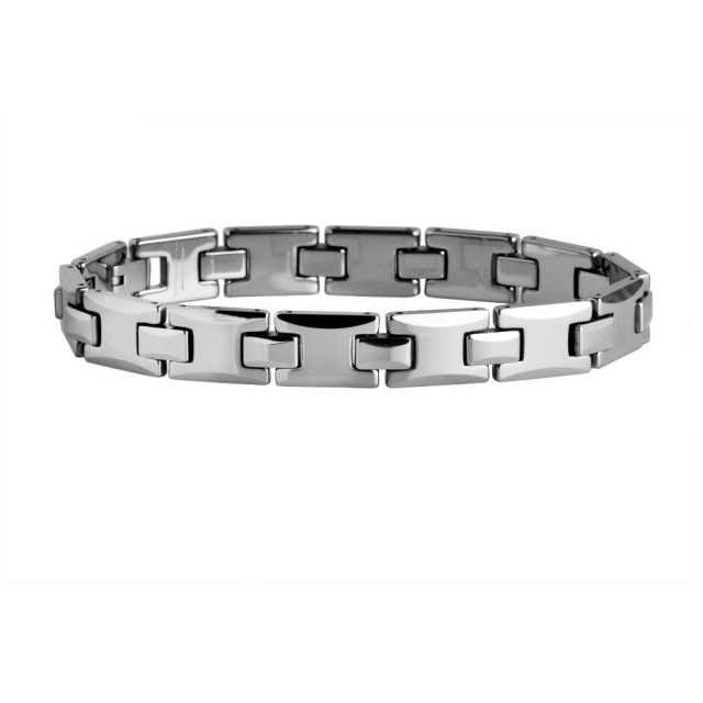 Present For man Polished Shiny Tungsten Carbide Beveled  with Germanium  Magnetic Snake-Link Bracelet /TUBR0039L