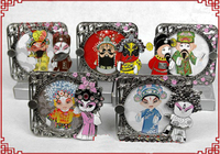 Boutique Antique Carved Decorate Photo Frames Christmas Gifts Chinese Beijing opera Metal Crafts with Boxes 3pcs/lot mix styles