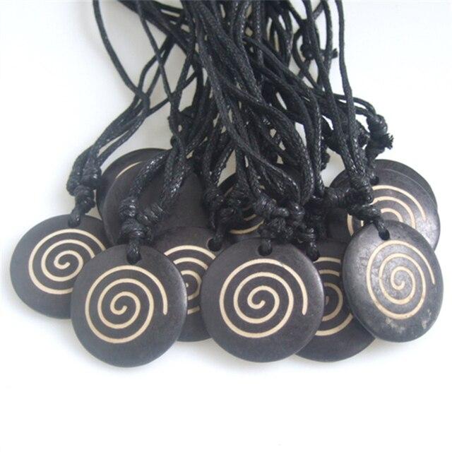 12 Pcs Rond Noir Yak Os Sculpte Vortex Cire Cordon Collier Pendentif