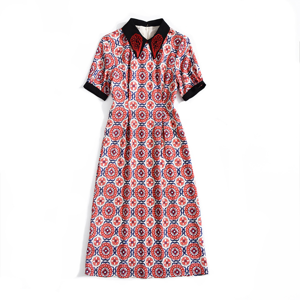 Summer Dress 2019 Women 39 s New Fashion Printed Contrast Color Embroidered Turn Down Collar Short Sleeved Slim A Line Casual Dress in Dresses from Women 39 s Clothing