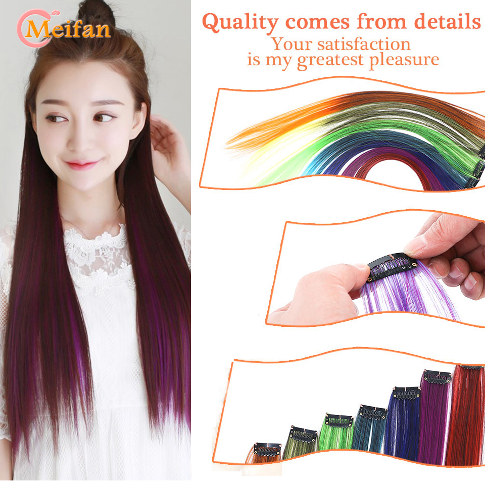 MEIFAN long Straight Color Hair Clip in One Piece Hair Extensions Highlight Rainbow Hair Streak Pink Synthetic Color Hair Strand 2