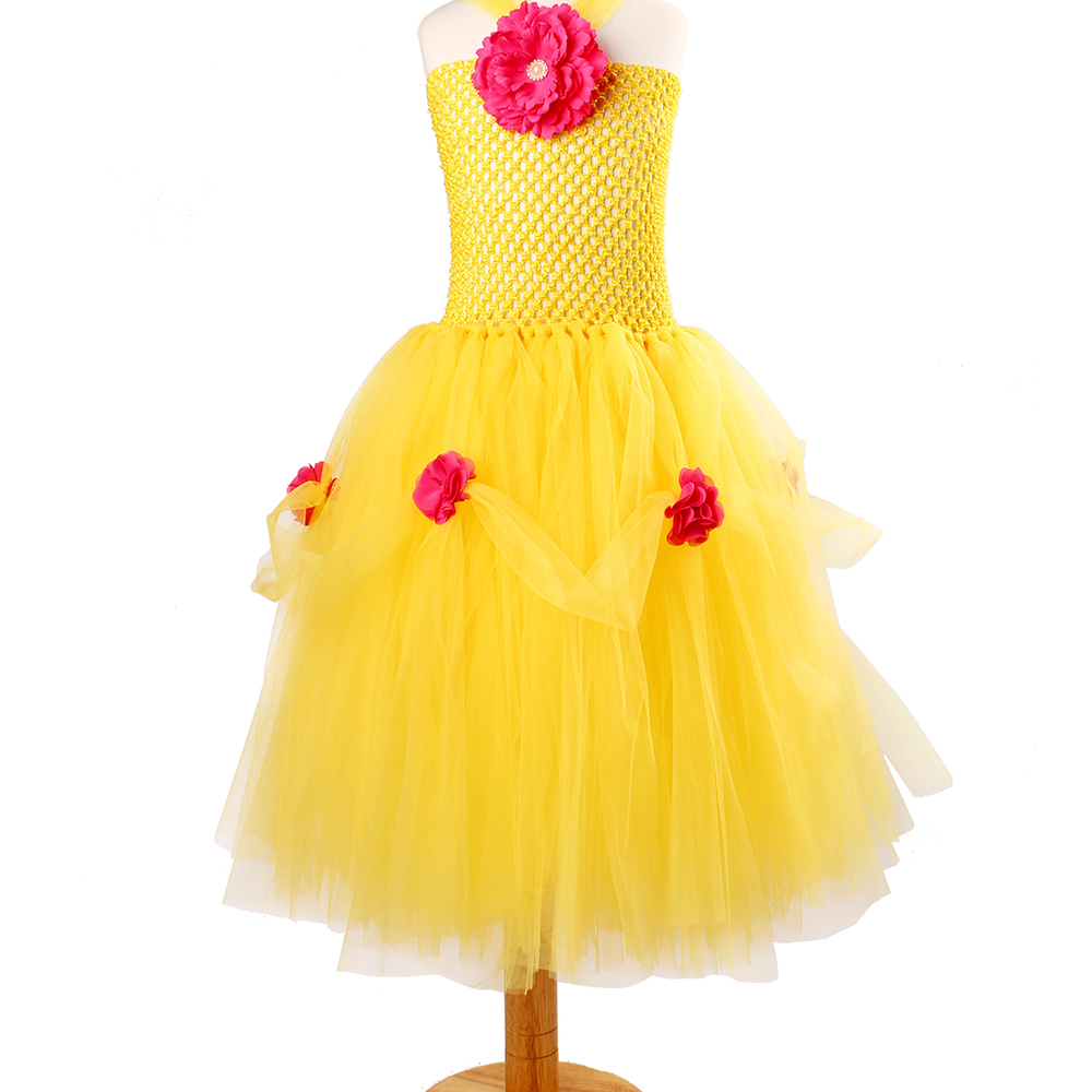 Yellow Princess Belle Tutu Dress The Beauty and the Beast Inspired Girls Birthday Party Dress Kids Photo Cosplay Costumes Vestidos (10)