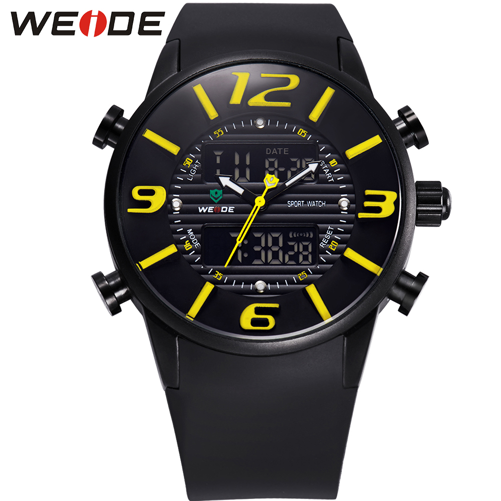 WEIDE Male Quartz Clock Auto Date Alarm Movement LCD PU Watch Strap Army Analog Digital Display 3ATM Military Sports Men Relogio weide 2 time zones men sports date lcd digital analog display repeater stopwatch quartz back light movement military watches men