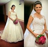 Линии свадебные платья чистой экипажа шея с коротким рукавом спинки весна лето свадебные платья кружева аппликация свадебное платье