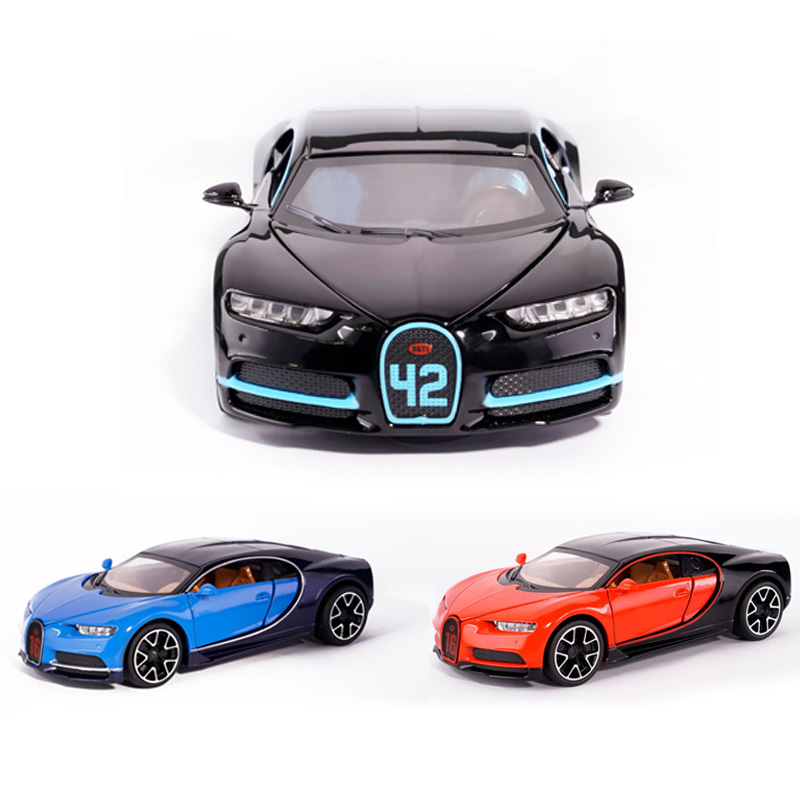Hot 1:32 Scale Wheels Pull Back Diecast Super Sports Cars Bugatti Chiron Metal Model Alloy Toys With Light And Sound Collection