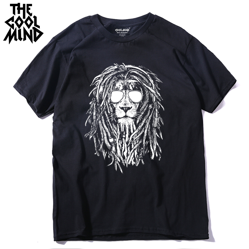 Men T-Shirt Short-Sleeve COOLMIND Lion-Print Casual 100%Cotton O-Neck QI0124A Tee Loose