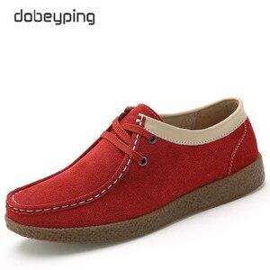 Image 4 - Dobeyping zapatos de primavera Otoño de piel de vaca para mujer, mocasines con cordones, zapatillas planas, 2018