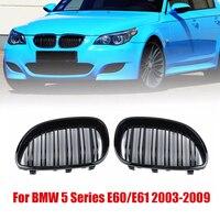 Für BMW E60 E61 5 SERIE 03 10 1 paar Schwarz Front Niere Grill Fit Für BMW Doppel linie Grille-in Front- & Kühlergrills aus Kraftfahrzeuge und Motorräder bei