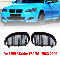 For BMW E60 E61 5 SERIES 03 10 1 Pair of Black Front Kidney Grill Fit For BMW Double Line Grille