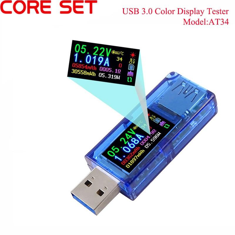 AT34 USB 3.0 cor LCD Voltímetro amperímetro medidor de corrente de tensão multímetro Testador de carga da bateria power bank USB