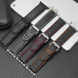 Luxury Strap for Apple watch band 44 mm 40mm iWatch band 42mm 38mm Carbon fiber+Leather watchband bracelet Apple watch 5 4 3 2 1(China)