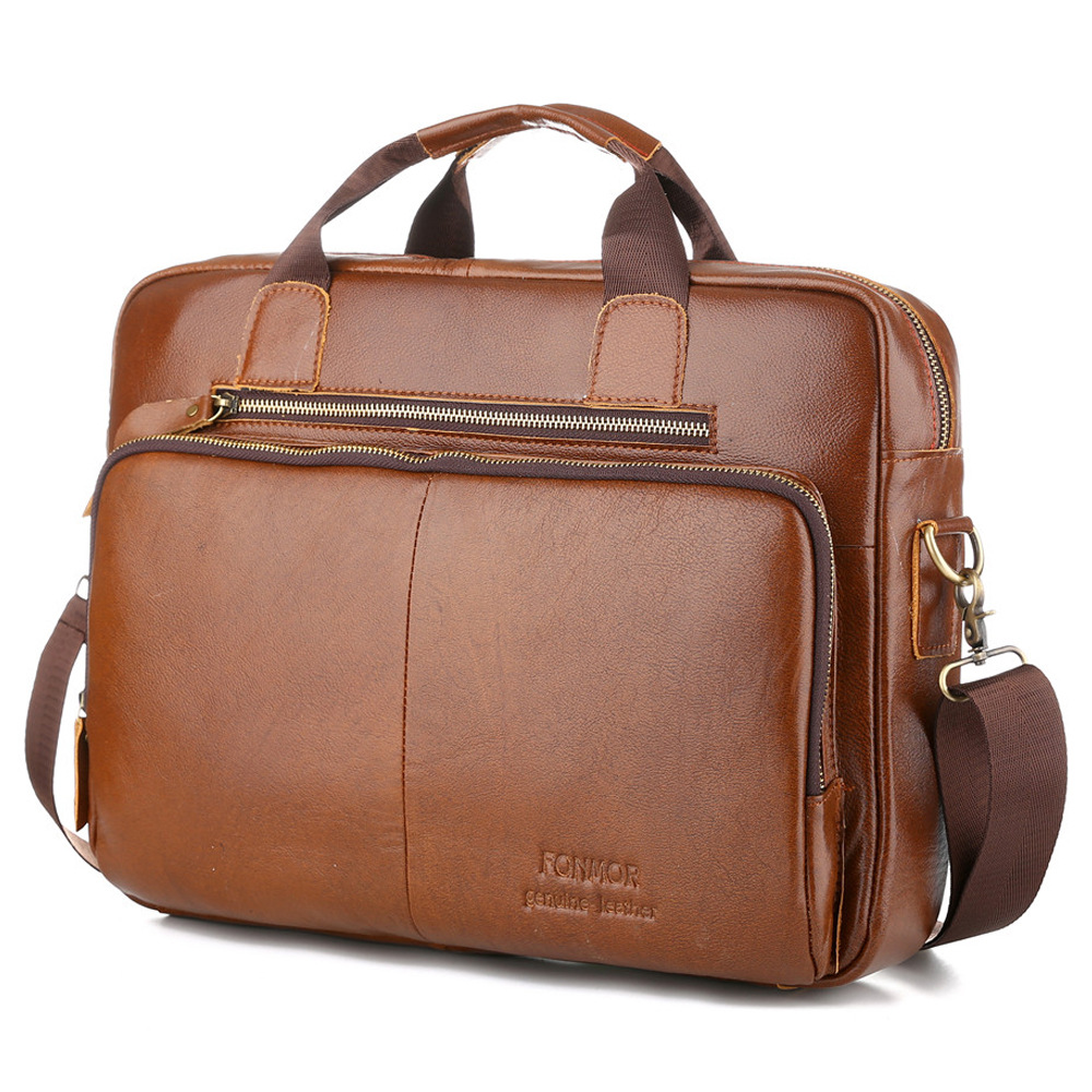 2019 New Luxury 100% Cow Genuine Leather Business Men's Briefcase Male Shoulder Bag Real Leather Messenger Bag Tote Computer Bag