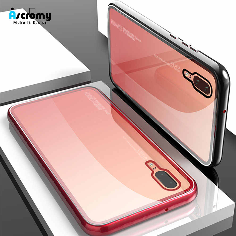 Ascromy For Huawei P20 Pro Case Magnetic Luxury Shockproof Tempered Glass Back Cover For Huawei P20 Phone Flip Funda Accessories