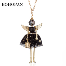Gold Doll Necklace Big Wing Angle Star Wave Point Dress doll Pendant Necklace Girl Kids Cloth Accessories Party Gift Jewelry женская рубашка big pink cloth doll d15ats007 2015