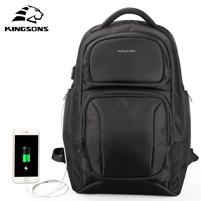 Kingsons ยี่ห้อใหม่กระเป๋าเป้สะพายหลังผู้ชาย Anti theft USB ชาร์จกระเป๋าเป้สะพายหลังแล็ปท็อป 15.6 นิ้วกระเป๋านักเรียนสำหรับวัยรุ่น Boys-ใน กระเป๋าเป้ จาก สัมภาระและกระเป๋า บน   1