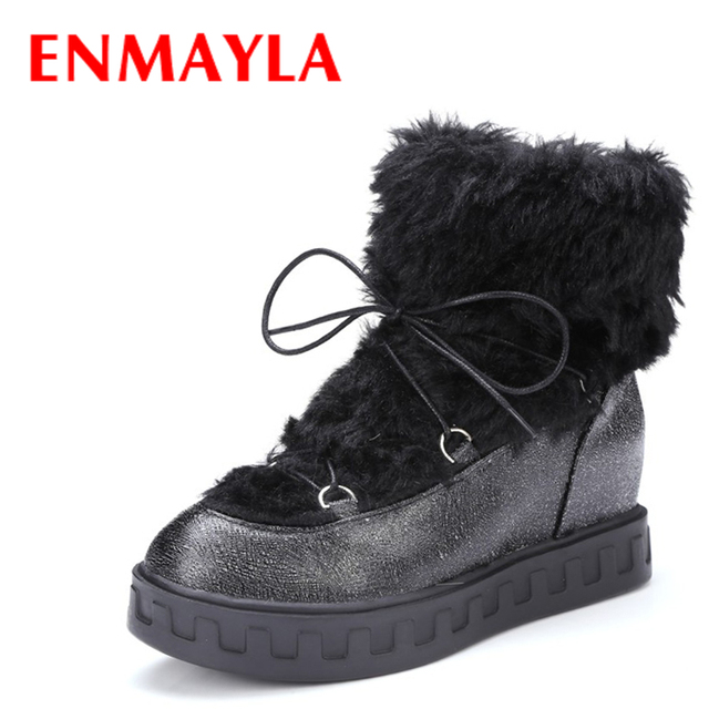 Winter Sweet Ladies Slip On Round toe Platform Warm High Tops Ankle Boots shoes