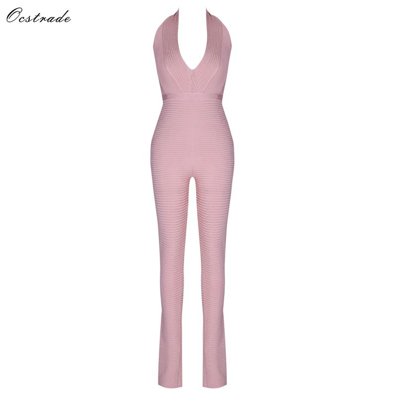 Ocstrade Bandage Jumpsuit 2019 New Arrive Nude Ribbed Rayon Bandage Jumpsuit Sexy Club Bodycon Jumpsuit Bandage Woman-in Jumpsuits from Women's Clothing    1