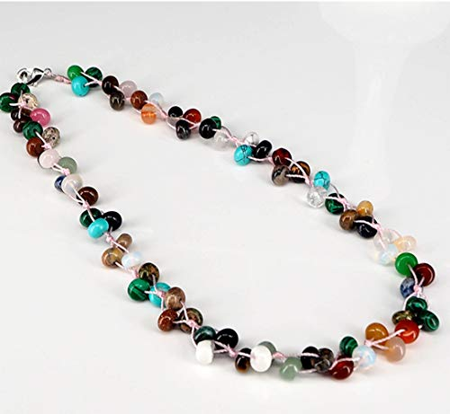 ICNWAY Natural Roundel Gemstone and Crystal Knitted by Hand Necklace 19.5inch Jewelry for Women