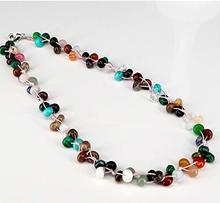 ICNWAY Natural Roundel Gemstone and Crystal Knitted by Hand Necklace 19.5inch Jewelry for Women roundel london куртка
