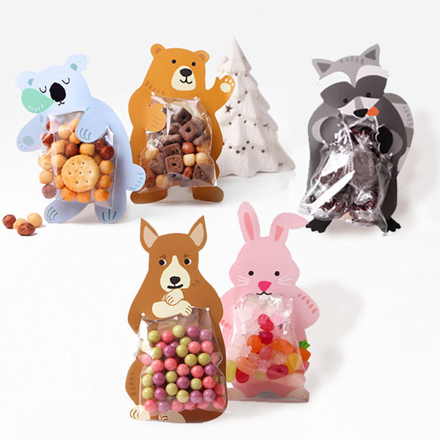30pcs Animal Candy Bar Decorations Rabbit Biscuits Package Card
