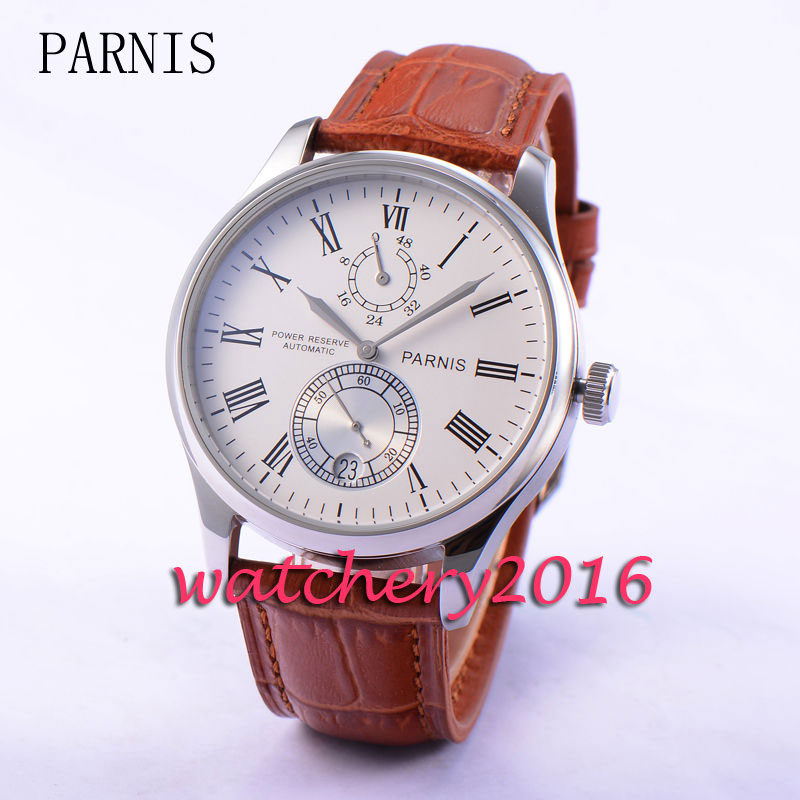 43mm PARNIS White Dial Watch leather Strap date Roman numerals Classical Power reserve Automatic self-wind Movement Men's Watch roman numerals dial artificial leather watch