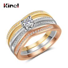 Kinel 2019 Fashion 1.25ct Rings For Women 3 Colors Metal Cubic Zirconia Engagement Ring 3PCS/Set Female Wedding Jewelry