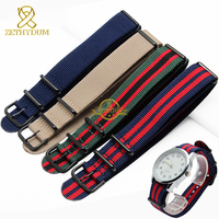 Nylon Watchband Perlon Nato Watch Strap Waterproof Sport Wristwatches Band Black Stainless Steel Buckle 20mm Watch