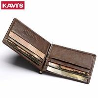 KAVIS Slim Genuine Cow Leather Money Clip Brand Men Women Bifold Male Bank Purse Wallet Dollar