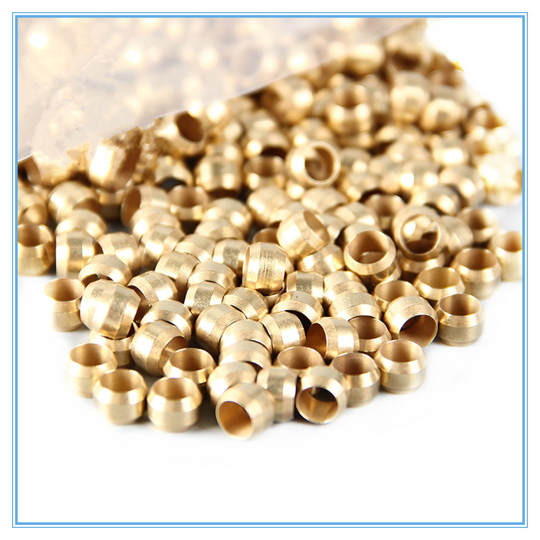10pc Brass Double Taper Ferrule 4 6 8mm OD Compression Sleeve Seal Ring Fittings Tube Centralized Lubrication System