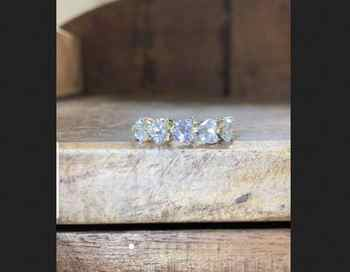 14k white gold, US 6 size, 0.3 ct each Moissanite Ring heart shape 5pcs , D-F color - DISCOUNT ITEM  0% OFF All Category