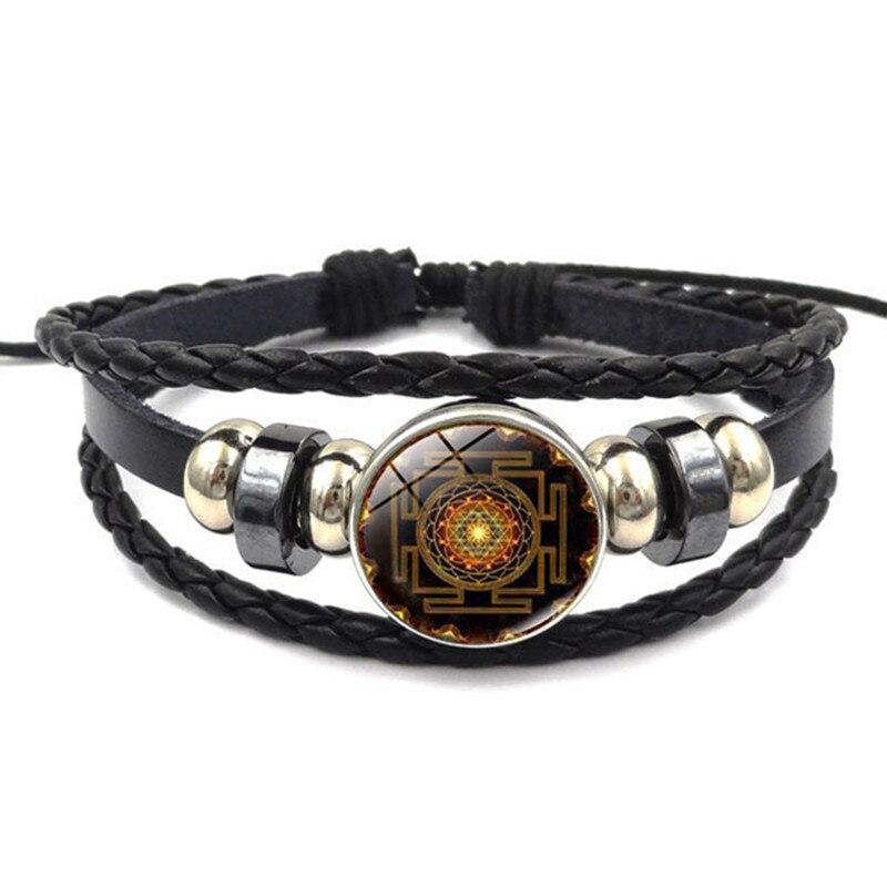 DIEZI Fashion Vintage Sri Yantra Bracelet Men Women Braided Leather Weave Handmade Rope Charm Bracelets Bangles