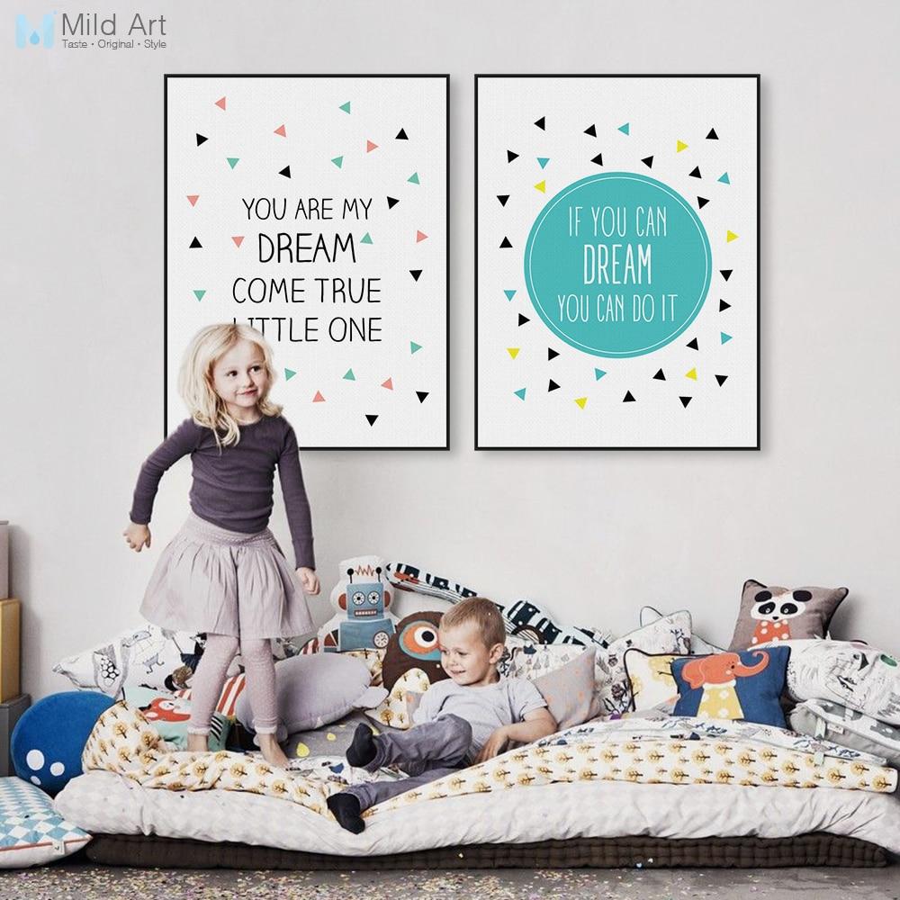 Moderní skandinávská typografie Dream Quote A4 Canvas Umělecká reprodukce Plakát Nursery Wall Picture Home Děti Dětská místnost Dekor Malování Bez rámečku