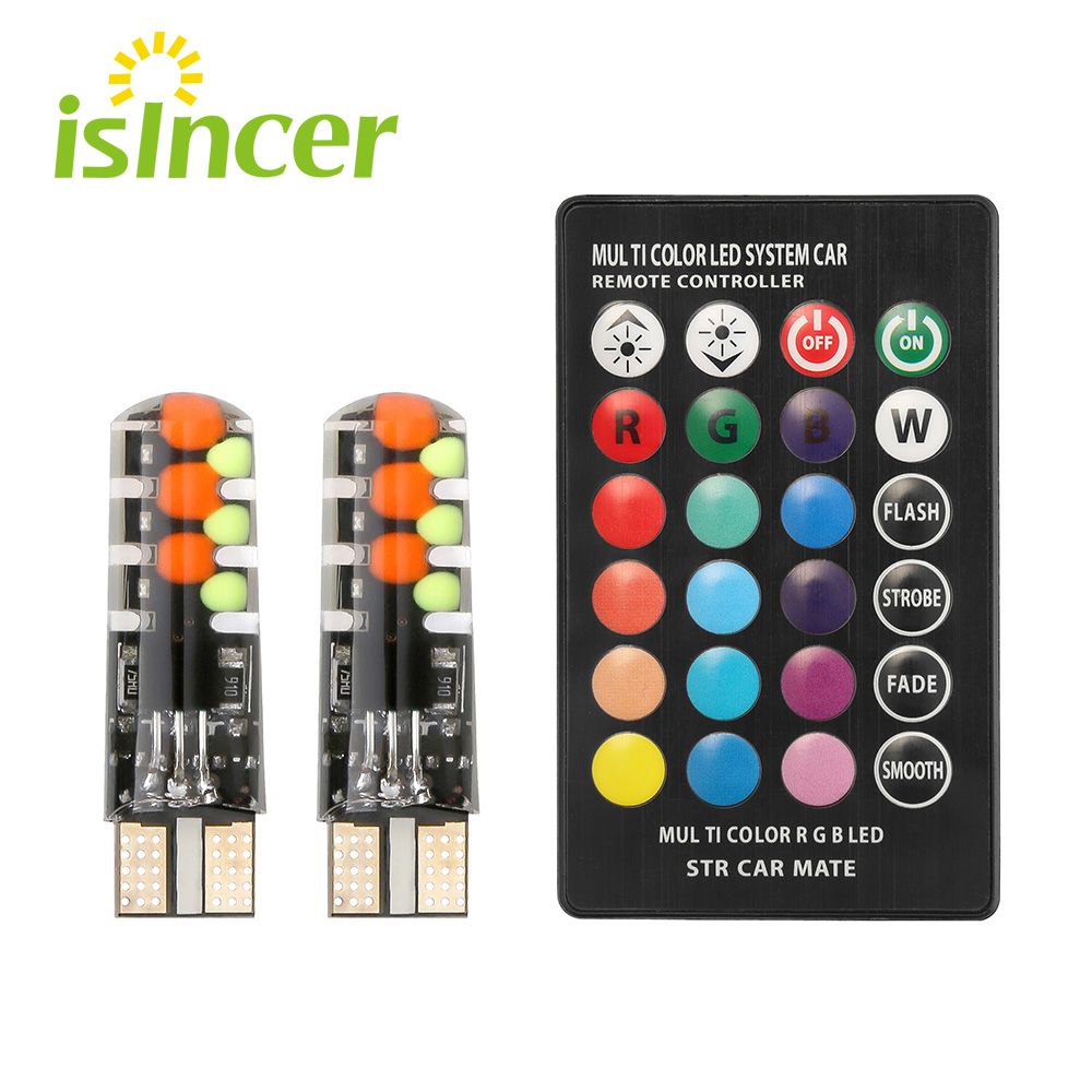 New Universal Car Led W5W T10 RGB COB 12SMD Clearance Lights Colorful Multi Mode Car Light Bulbs With Remote Controller