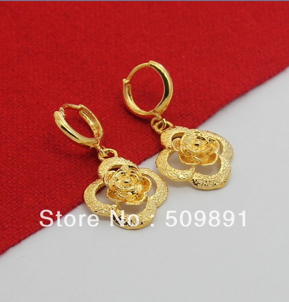 E510 New Trendy 24 Carat Gold Colou Women Jewelry Nice Flower Drop