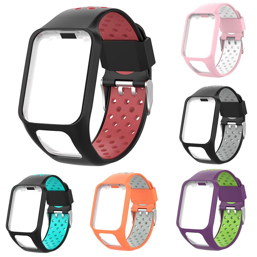 Dual Colors Silicone Watch Strap for TomTom Spark 3 Cardio Music Runner 2 Series