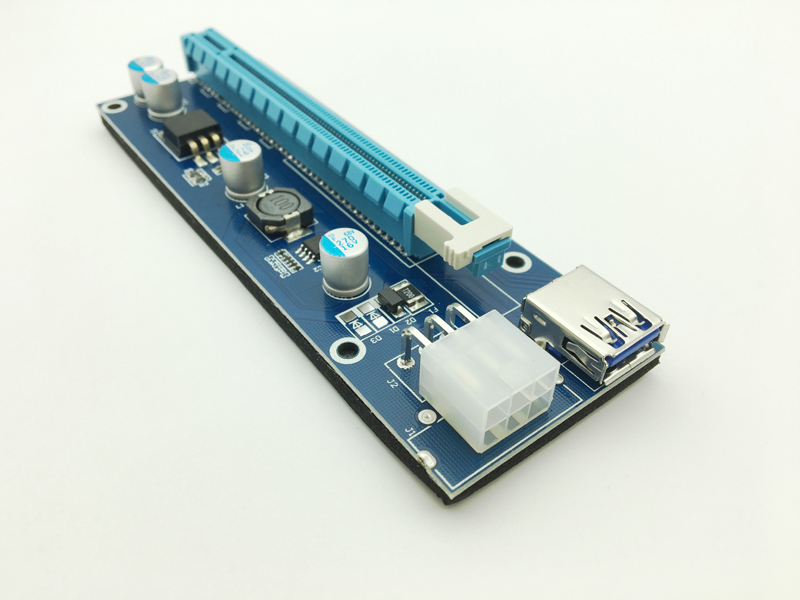 Riser VER007 PCI-E PCI Express 1x to 16x Riser Card USB 3.0 Data Cable SATA to 6Pin IDE Molex Power for BTC Bitcoin Miner Mining