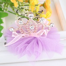 New Style Hot Sale Girls Shiny Rhinestone Crown Shaped Hair Clip With Ribbon Children Accessories Protective Cute Hair clip cheap M MISM Fashion Acetate Cotton Polyester Hairpins A11-A16 Geometric Headwear as picture daily party Zhejiang China (Mainland)