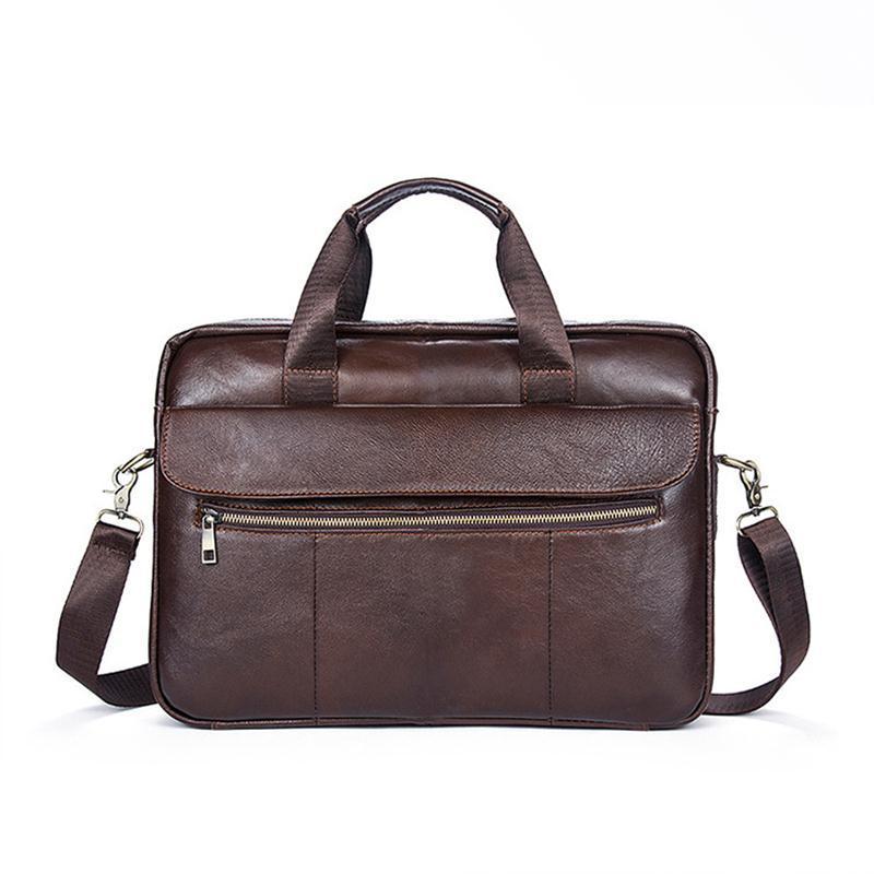 100 Genuine Leather Mens Bag Vintage Briefcases Laptop Computer Zipper Handbag Male Business Messenger Shoulder Crossbody