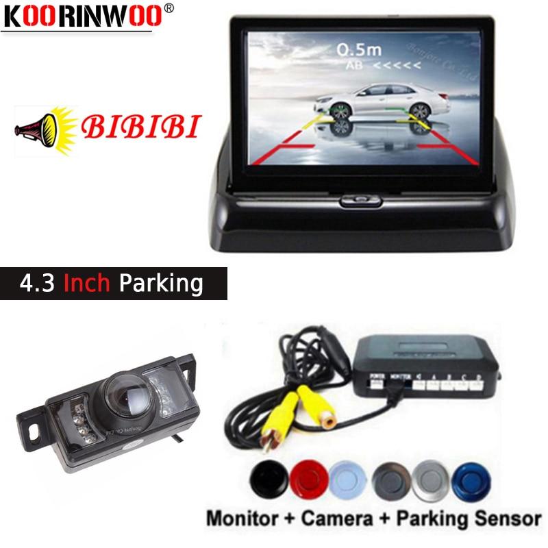 Koorinwoo Full CCD Car Parking Sensor beep Buzzer Parkronic Rear view Camera Backup Cam 4 3