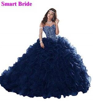 49a1071d6 Strapless Ball vestidos con cuentas de encaje flor apliques tul vestido  Quinceanera dulce 16 Formal fiesta concurso vestidos BaDress 9