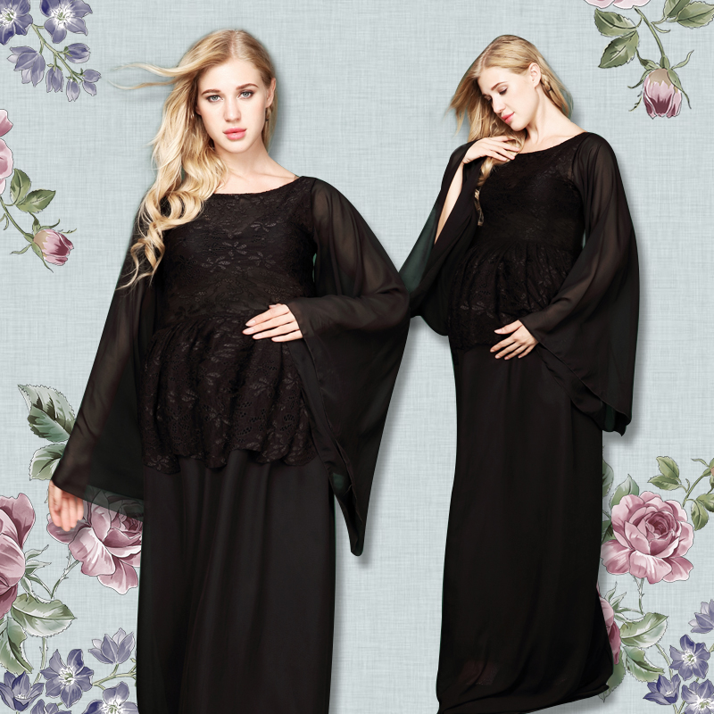 New Women Maternity Photography Props Pregnancy Clothes Maternity Chiffon Black See through Dresses For pregnant Photo Shoot