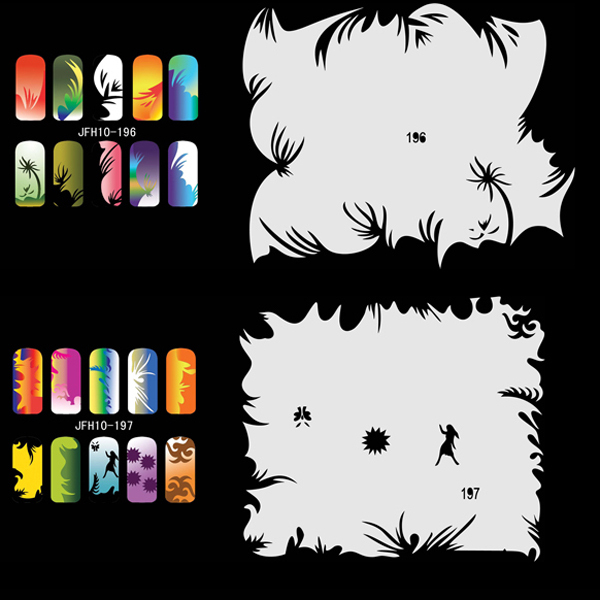 Airbrush Nail Art Stencil Set 10,  20 Sheet Stencils Set with an Average of 20 Different Nail Art Design Patterns 268 in 1 nail art templates nail stencils set