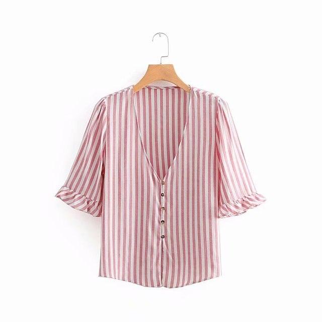 8722c55010a6 2018 women sweet v neck buttons striped kimono shirt agaric lace decoration  simple blouse retro femininas blusas tops LS2357