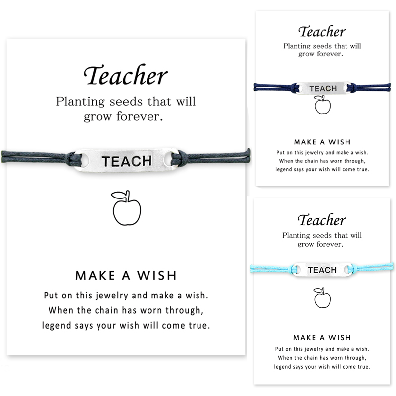 Teachers Day Girls Friendship Statement Jewelry with Card Silver Apple Charm Adjustable Make a Wish Teach Bracelets for Women ...