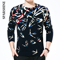 Sweater Man Wool Cashmere Knitted Winter Warm Pullovers O-neck Long Sleeve Sweaters Male Jumper Puls Size Rose Floral Print