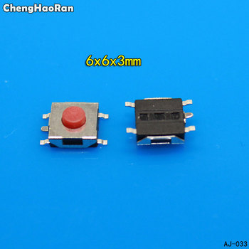 ChengHaoRan 10-100pcs/lot 6*6*3mm 5 PIN SMD Red Copper Tactile Push Button Switch Tact Switch 6mm*6mm*3mm image