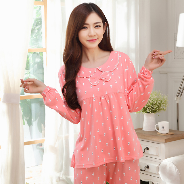 1726ae3a70fa Women Pajamas Cute Bow Tie Sleepwear 100% Cotton Nightwear Autumn Winter  Homewear Long Sleeved Ladies Pyjamas Pink Color Pajamas